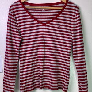 TOMMY HILFIGER Red Striped Cropped Tee Sz M